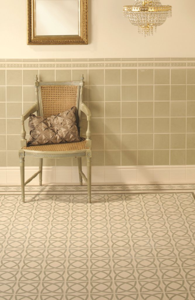 Original Style Victorian Floor Tiles 7947v Dublin Green On White