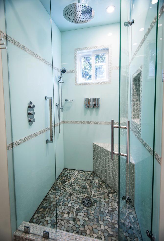 Multi layer acrylic glass effect paneling ipswich for Glass wall panels bathroom